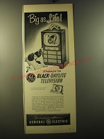 1950 General Electric Black-Daylight Television Model 16C113 Ad - Big as life