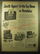 1950 Zenith Radio Ad - Universal, Trans-Oceanic, Tip-Top holiday and Zenette