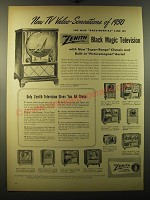1950 Zenith Television Ad - Lincoln, Adams, Jefferson, Madison, Tyler, Garfield