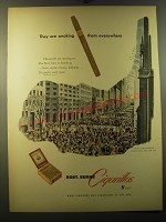 1950 Robt. Burns Cigarillos Ad - Easter Sunday Parade Fifth Avenue, New York
