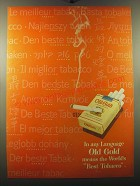 1950 Old Gold Cigarettes Ad - In any language Old Gold means the world's best