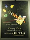 1950 Old Gold Cigarettes Ad - We don't need to color our story