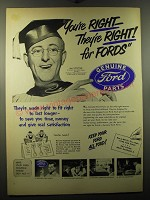 1950 Ford Genuine Parts Ad - Kay Kyser - You're right - they're right!