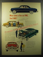 1950 Ford Cars Ad - What makes a fine car FINE, Ford HAS