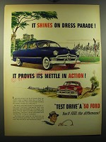 1950 Ford Cars Ad - It shines on dress parade!