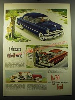 1950 Ford Cars Ad - It whispers while it works