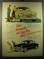 1950 Ford Convertible and Tudor Sedan Ad - Now thousands own two fine cars