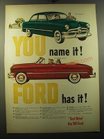 1950 Ford Cars Ad - You name it! Ford has it!