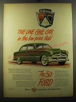 1950 Ford Cars Ad - The one fine car in the low-price field
