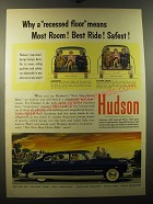 1950 Hudson Cars Ad - Why a recessed floor means most room! Best Ride!