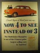 1950 Studebaker Champion Ad - Smart buyers of lowest price cars say