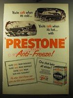 1950 Prestone Anti-Freeze Ad - You're safe when it's cold