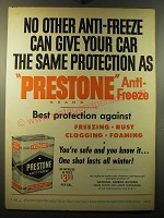 1950 Prestone Anti-Freeze Ad - No other anti-freeze can give your car the same