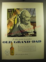 1950 Old Grand-Dad Bourbon Ad - art by Melbourne Brindle - It takes genius