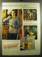 1950 Schenley Whiskey Ad - Raymond Massey stars on stage and off
