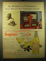 1950 Seagram's Ancient Bottle Gin Ad - As modern as tomorrow