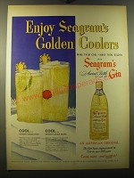 1950 Seagram's Ancient Bottle Gin Ad - Enjoy Seagram's Golden Coolers