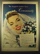 1949 Oneida Community Silverplate Advertisement - The happiest brides have