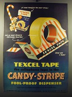 1949 Texcel Tape Ad - Texcel Tape the cellophane tape in the Candy-Stripe