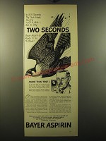 1949 Bayer Aspirin Ad - In 10.4 seconds the duck hawk can fly 1/5 of a mile