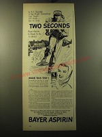 1949 Bayer Aspirin Ad - In 13.2 seconds a top-flight showshoer can travel 100