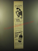 1949 Sunsweet Prune Juice Ad - Only Sunsweet has it! Uniform Laxative strength
