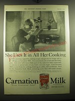 1921 Carnation Milk Ad - She uses it in all her cooking