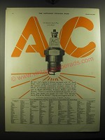 1920 AC Spark Plugs Advertisement - The standard spark plug of the world