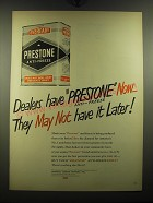 1949 Prestone Anti-Freeze Ad - Dealers have Now - they may not have it Later
