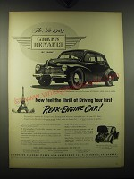 1949 Green Renault Car Ad - Now feel the thrill of driving your first
