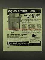 1943 Raytheon Voltage Stabilizers Ad - Endbell Model