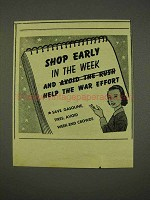 1943 WWII Ad - Shop Early and Help the War Effort