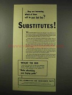 1942 WWII Committee on Consumer Facts Ad - Substitutes