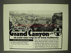 1942 Santa Fe Railroad Ad - Go Direct to Grand Canyon