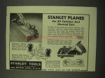 1942 Stanley Tools Ad - Bailey, Open Throat Planes