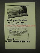 1942 New Hampshire Tourism Ad - Trade Your Troubles