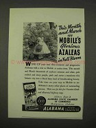 1942 Alabama Tourism Ad - Mobile's Glorious Azaleas