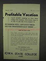 1935 Iowa State College Ad - Profitable Vacation