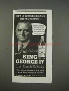 1935 King George IV Scotch Ad - August Janssen