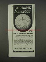 1935 Burbank Streamline Golf Ball Ad - Look at Cover