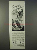 1934 Heinz Pure Vinegar Ad - Sun Up for Happy Flavors