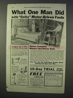 1934 Delta Motor-Driven Tools Ad - Saw, Lathe, Drill