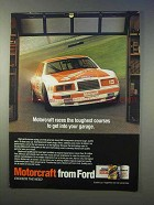 1986 Ford Motorcraft Auto Parts Ad - Races Toughest