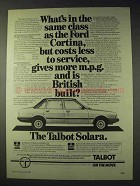 1981 Talbot Solara Car Ad - Costs Less To Service
