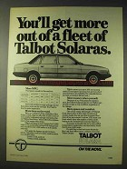1980 Talbot Solara Car Ad - You'll Get More Out Of