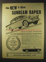 1958 Sunbeam Rapier Car Ad - 1 1/2 Litre