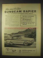 1958 Sunbeam Rapier Car Ad - New 1 1/2 Litre