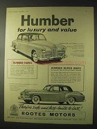 1956 Humber Hawk, Super Snipe Car Ad