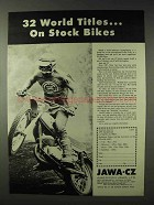 1972 Jawa CZ Motorcycle Ad - 32 World Titles on Stock