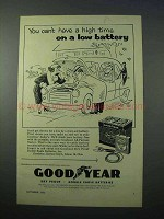 1953 Goodyear Battery Ad - Can't Have a High Time